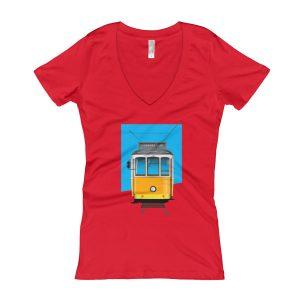 Tram 28 Largo Camões - Women's V-Neck T-shirt