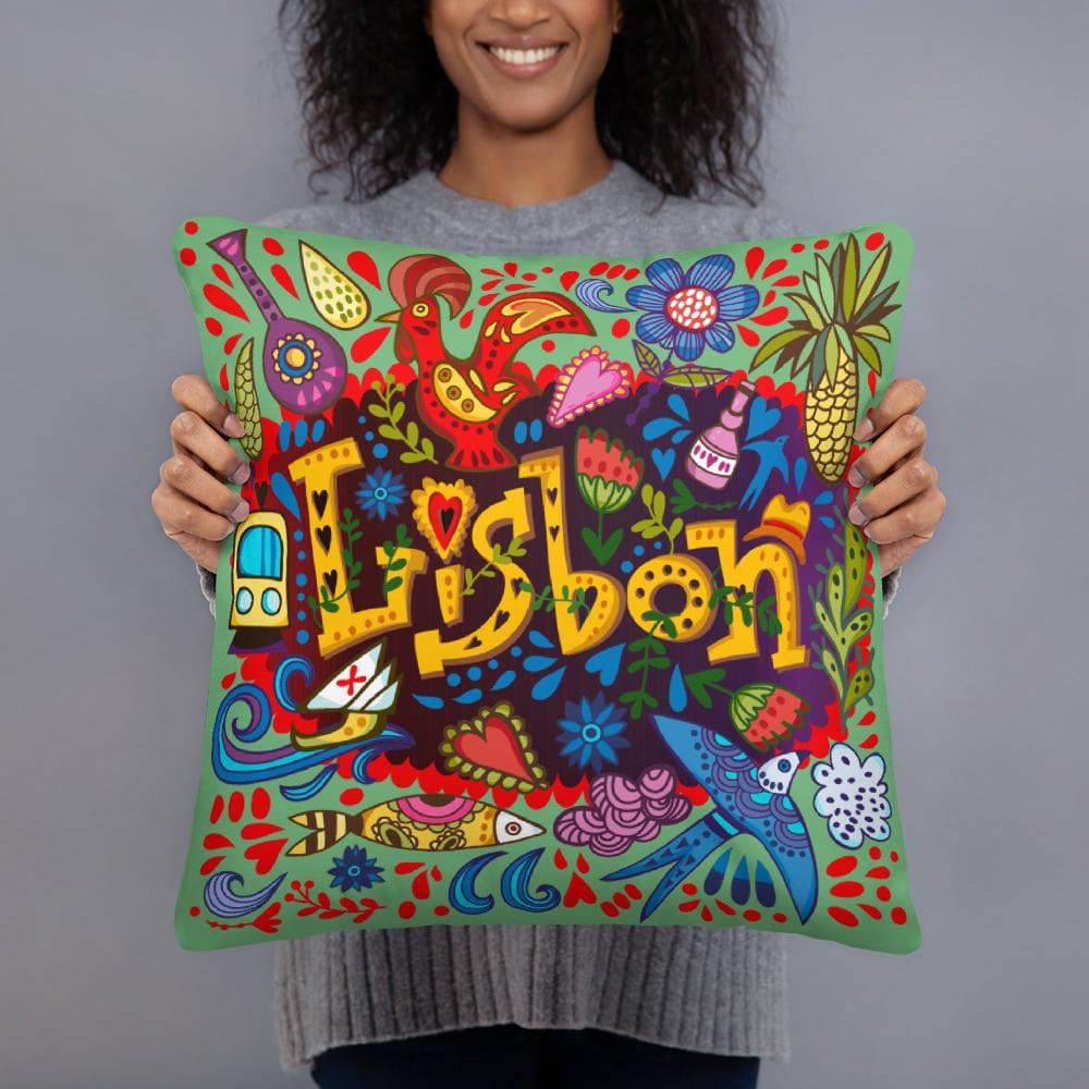 Lisbon Traditional Symbols - Square Pillow