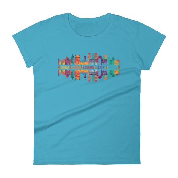 Lisbon Multi Color Silhouette - Women's Short Sleeve T-Shirt