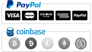 We Accept PayPal & Bitcoin via Coinbase