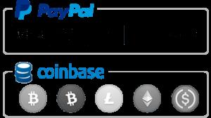 We Accept PayPal & Bitcoin via Coinbase